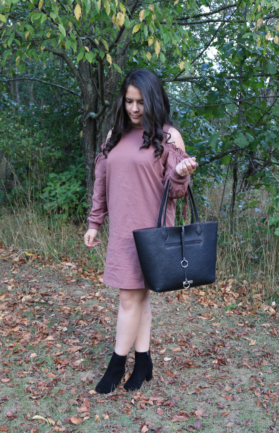 Halogen Cade Boots and Lush Cold Shoulder Ruffle Sweaterdress from Trunk Club Review #5
