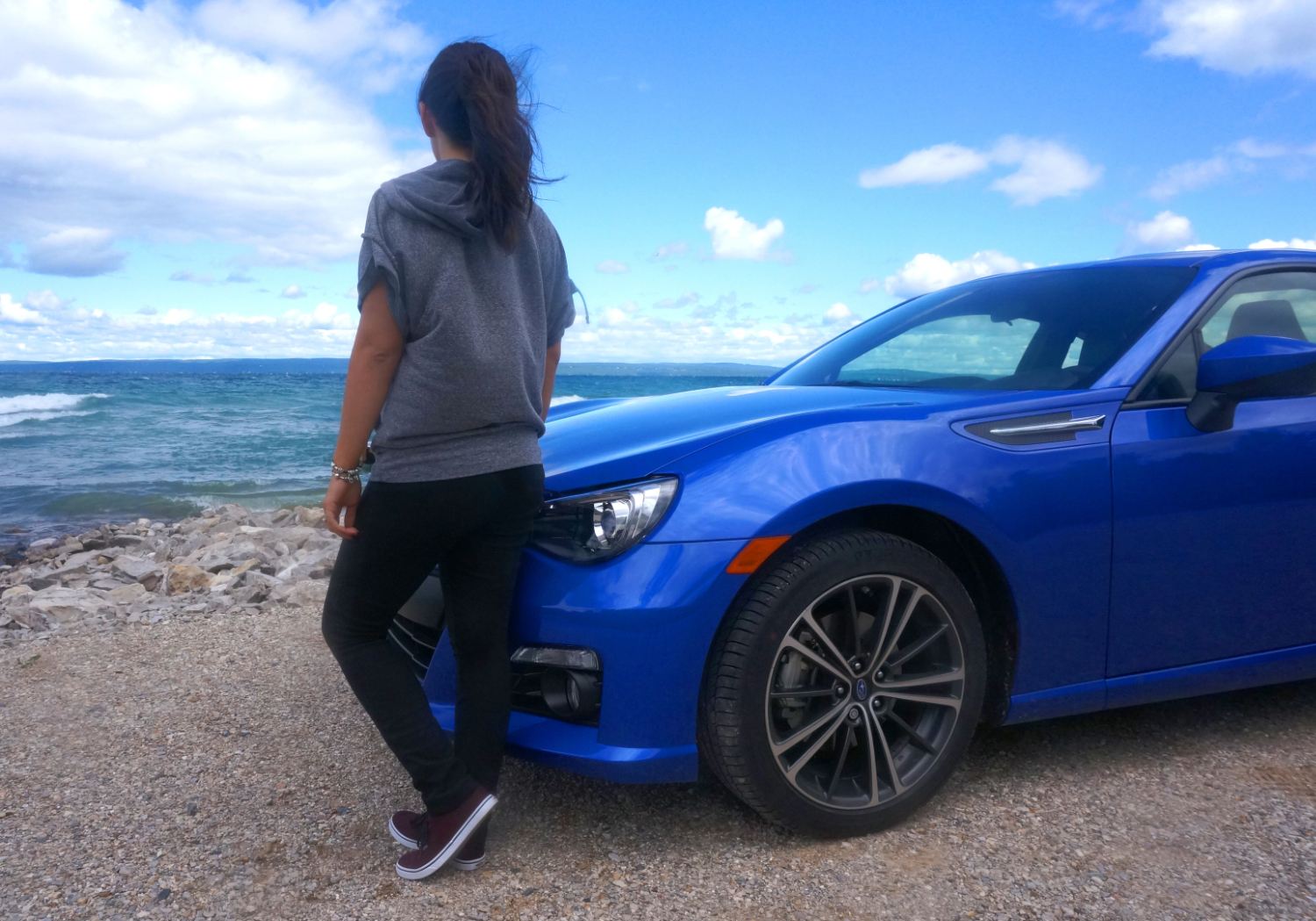 Adriana and her WRB Subaru BRZ on the Petoskey, Michigan lake shore
