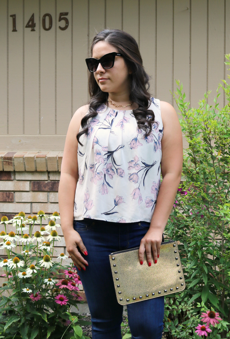 Petite floral blouse from Stitch Fix and a gold studded clutch by Rebecca Minkoff