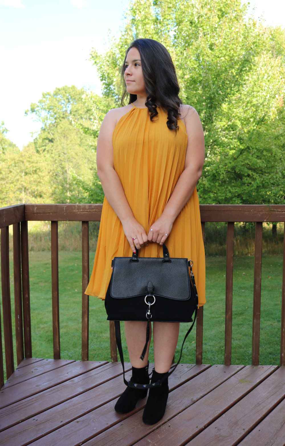 Rebecca Minkoff Medium Keith Suede and Leather Satchel and BB Dakota Gretal Cold Shoulder Pleated Dress