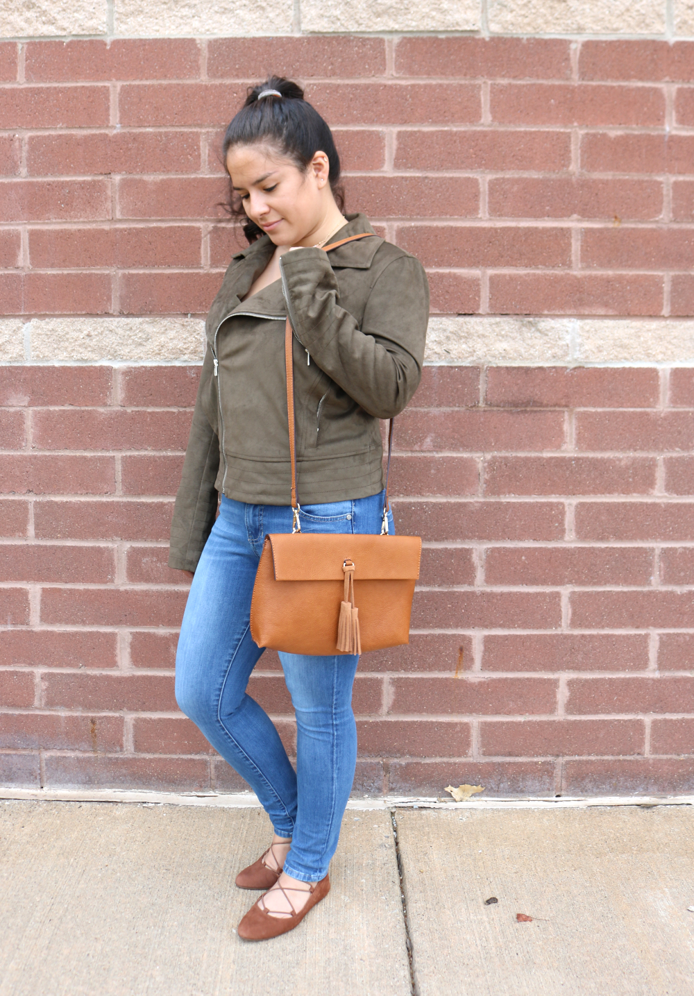 Street Level crossbody and faux suede moto jacket from Stitch Fix