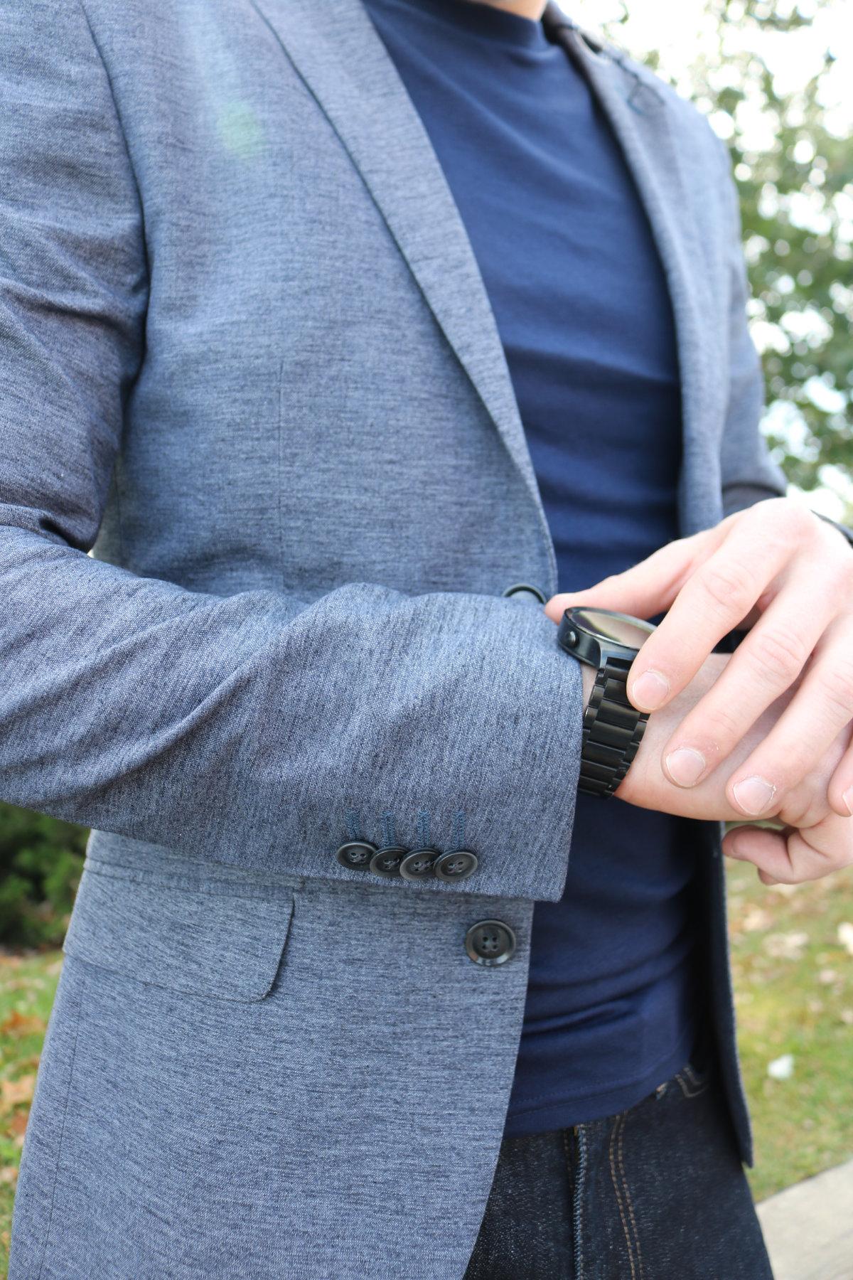 Topman Slim Fit Jersey Blazer Detail