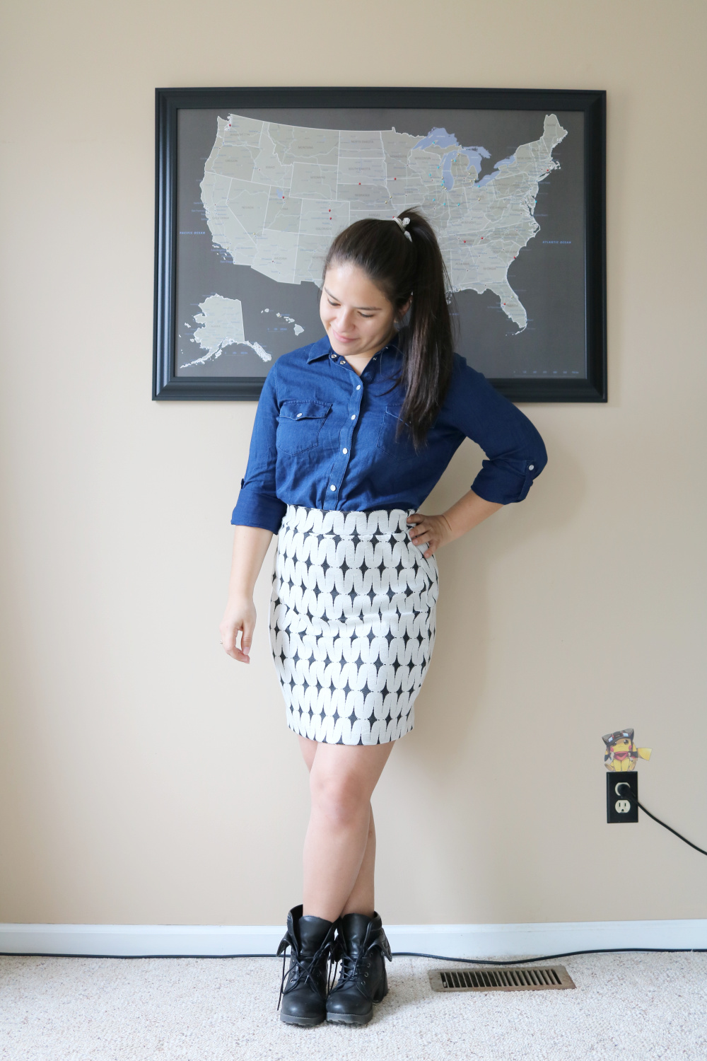 Kut From The Kloth chambray shirt and Renee C printed skirt from Stitch Fix (Stitch Fix Review 22)
