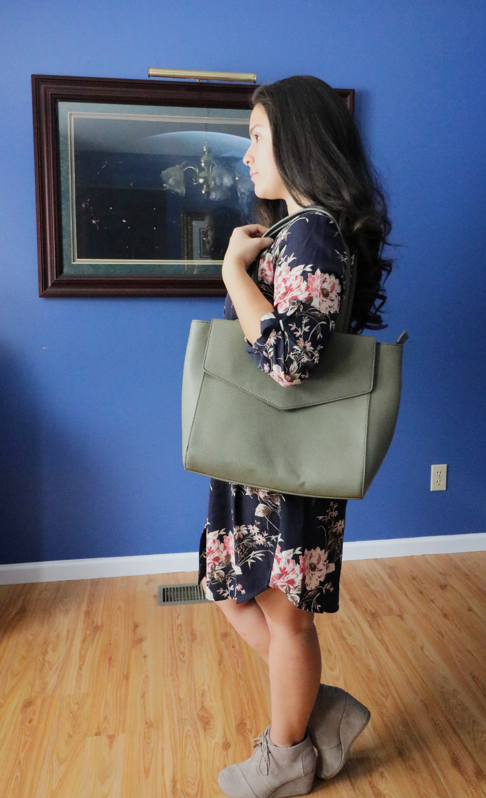 One of my favorite outfits from Stitch Fix! Floral shirt dress with TOMS booties and an olive shoulder bag from Urban Expressions