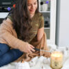 Fall Cardigan and Vanilla Pumpkin Candle
