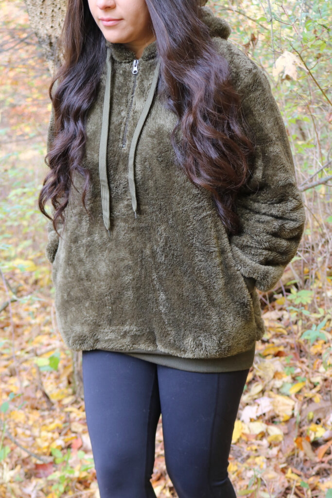Fuzzy sweater in olive green